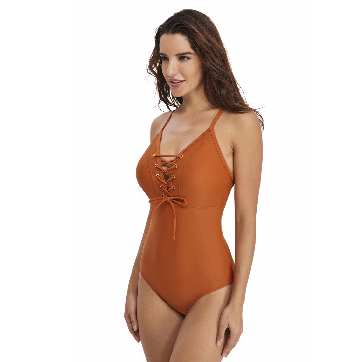 Women 39 s new solid color sexy halter strap triangle ladies one piece swimsuit Bikini in Body Suits from Sports amp Entertainment