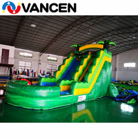Adult size inflatable water sldie green bouncer castle outdoor lows price giant inflatable water slide for adult from china