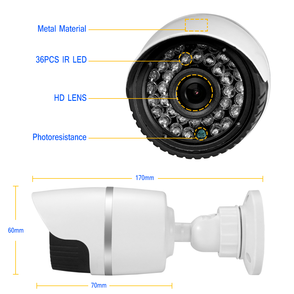 HJT POE 5.0MP IP Camera 36PCS IR LED led light HD Infrared Night Vision Outdoor Alarm System Waterproof Webcam