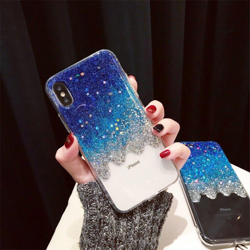 Cassa del telefono Per Samsung J3 J5 J7 2016 2017 Prime Pro J4 J6 Carino Gradiente di scintillio stella gomma morbida posteriore copertura Capa