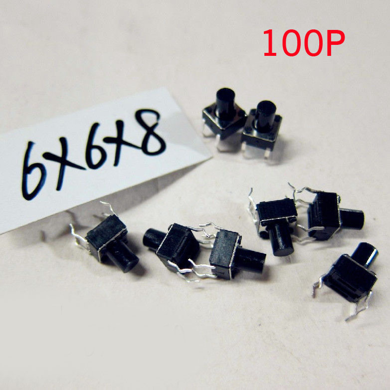 New 100 Pcs/Lot Tactile Push Button Switch Tact Switch 6*6*8mm H Patch 4-pin DIP