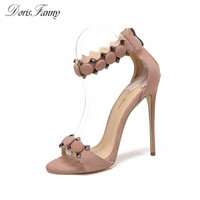 DorisFanny Suede Leather Fashion Shoes Women Sandals Summer Open Toe Ankle Strap Sexy High Heels Pink