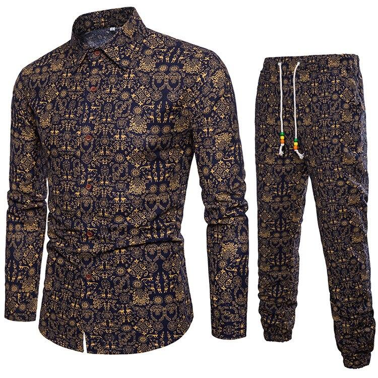 Men Two Pieces Set New Fashion Sleeve Shirt Blouse Casual Men Tracksuit Autumn Men Brand Clothes Top +Pants Sets