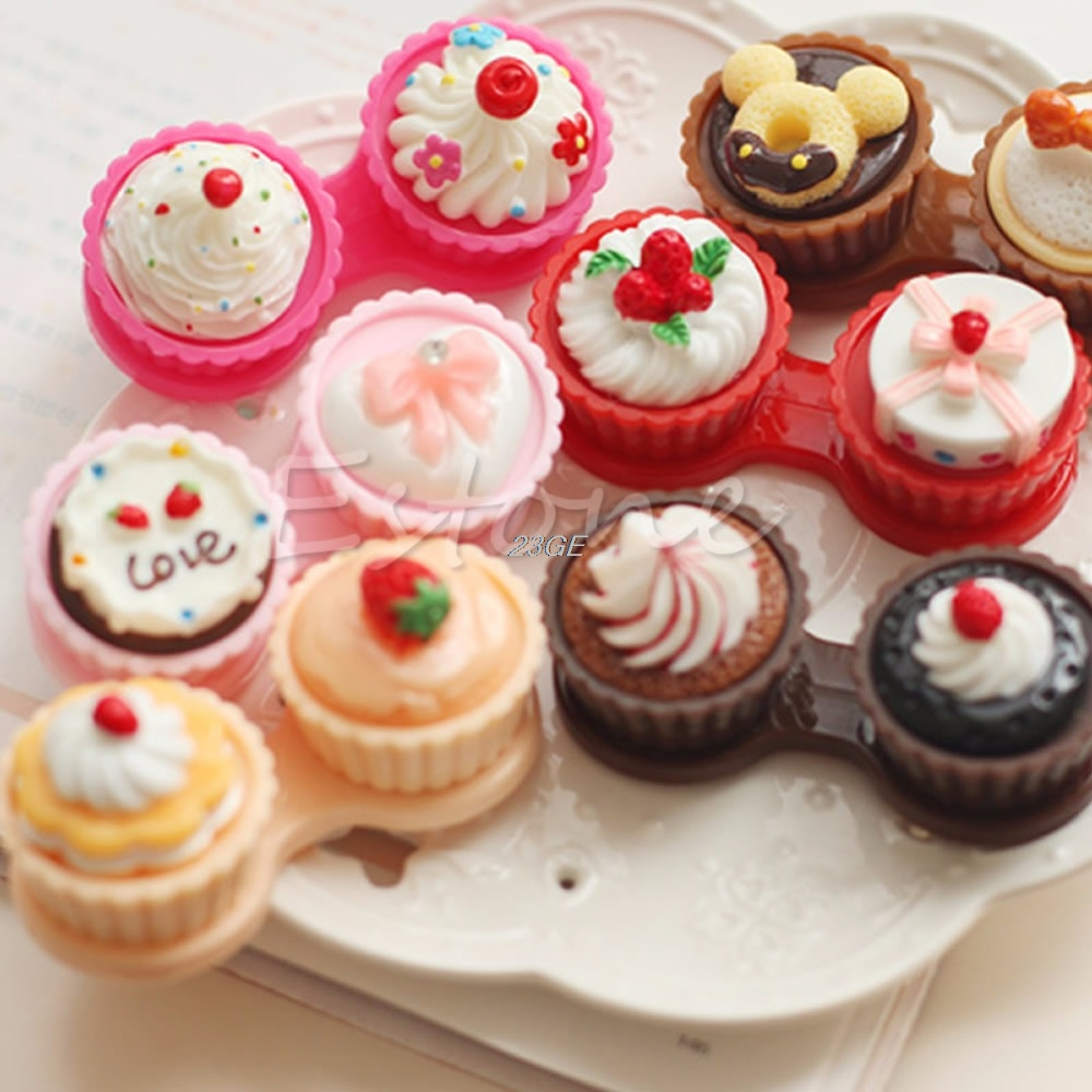 2017 Cute 3D Lovely Cute Cartoon Cream Cake Design Contact Lens Box Holder Container MAR21_15 ...