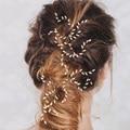 Women Wedding Pearls Rice Grain Shape Hairsticks Hairpins Handmade Tiaras Hair Jewelry Fashion Bride Head Accessories Hairwear