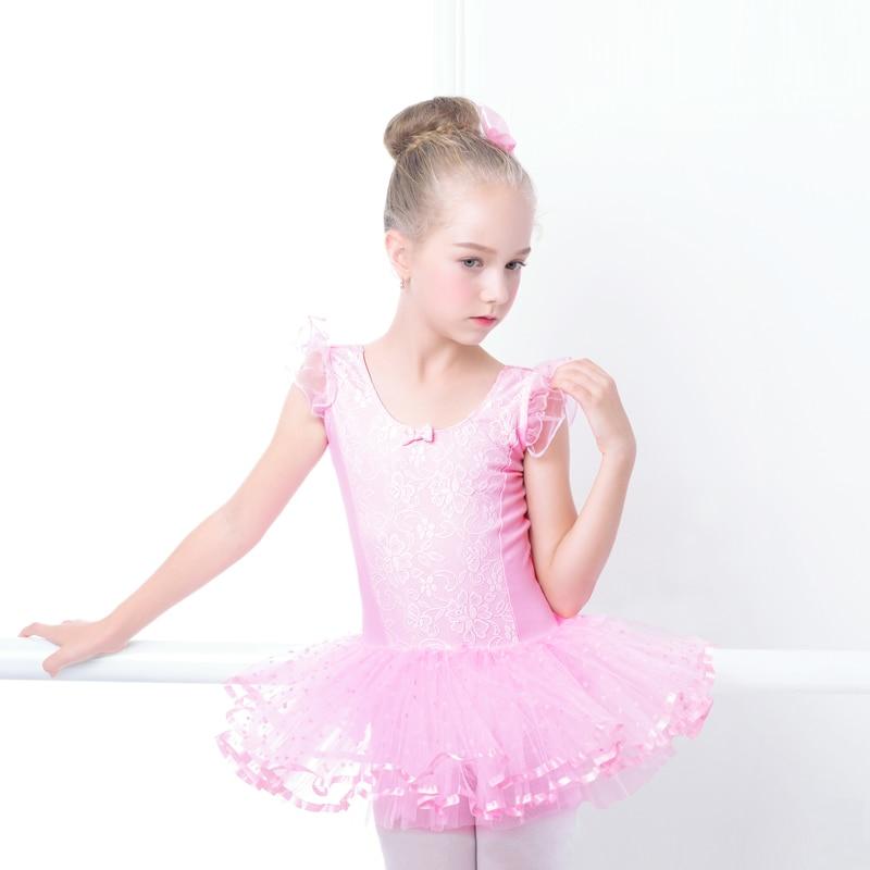 Pink Ballet Leotard For Kids Lace Ballet Tutu Dance Dress Leotard For Girls Gymnastics Use For Bailarina Stage Performance