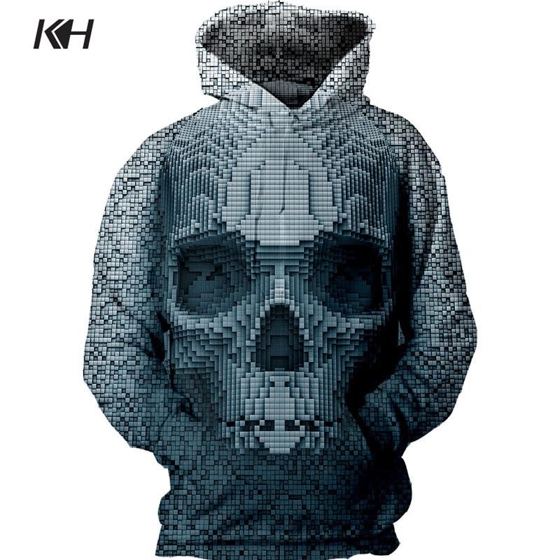 KH Мужская мода толстовки с капюшоном на весну пуловеры череп плед 3D печати кофты с капюшоном пальто Топы в стиле хип-хоп; большие размеры S ~ ...