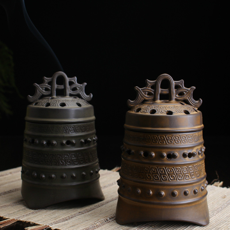 YXY Antique Bell Incense Burner Sandalwood Coil Censers Base Ceramic - Home Decor