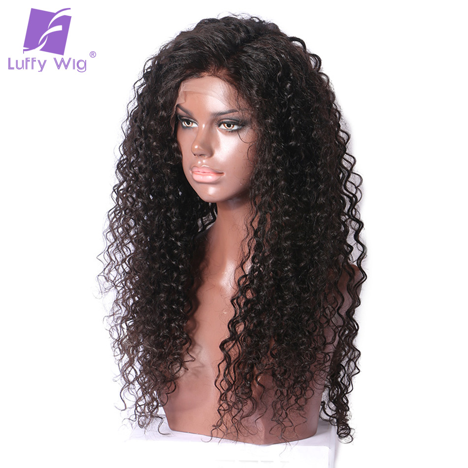 Luffy Curly Human 5×4.5 Silk Base Full Lace Wig Glueless With Baby Hair Pre Plucked Natural Hairline Non Remy Brazilian Hair