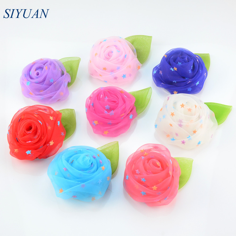 Online get cheap hair flower supplies aliexpress alibaba group 20pcslot 20 color 7cm large rolled gauze rose flower with leaf printed with star diy crafting supplies hair accessories th221 dhlflorist Choice Image