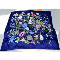 Floral Print Square Silk Scarf Women 90 90 100 Pure Silk Twill Scarves Wraps Shawl Hijab