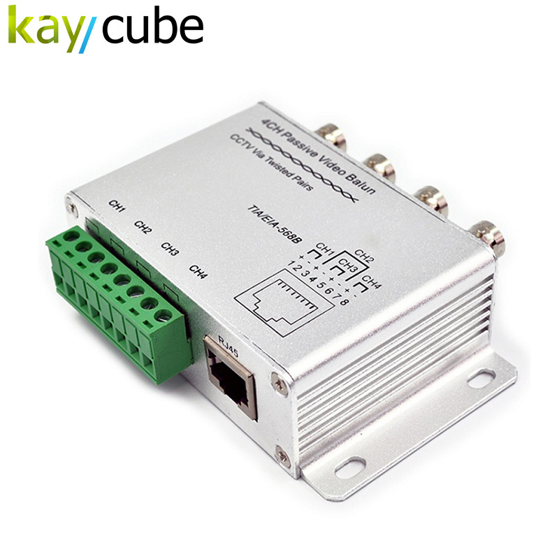 New Silver 4 Channel Passive Video Balun Rohs Transmitter Receiver 4CH Balun Transceiver Adapter UTP Cat5 RJ45 Kaycube Security