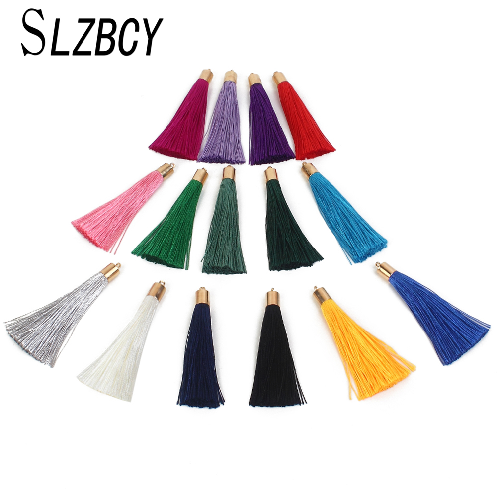 SLZBCY 10 Pcs/Lot Cotton Brush Long Tassels For DIY Earrings Jewelry Making Fringed Tassel Charms Accessories Material Supplies