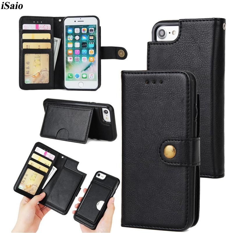 Флип Чехол для iPhone 6 6S кожаный чехол для iPhone 6 6S плюс 2 в 1 съемная Кошелек защитный телефон визитница Магнитный чехол
