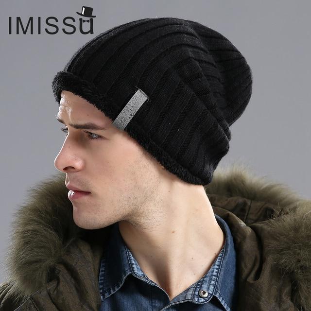 IMISSU мужская Теплые Шапки Зимние Вязаные Шерстяные Шапочки Hat Открытый Спорт Hat Bonnet Skullies Сплошные Цвета Casquette Gorros Muts Cap