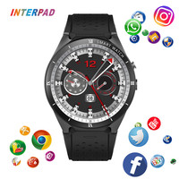 Interpad Android 7.0 Smart Watch Men Wristwatch 1GB RAM 16GB ROM GPS WIFI Smartwatch for Samsung iPhone Gear S3 PK Microwear H2