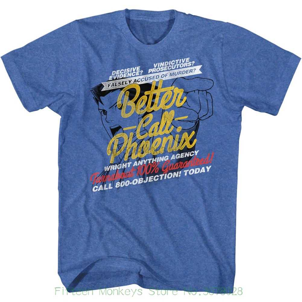 T Shirt Uomo Manica Corta Maglietta Ace Attorney Meglio Chiamare Phoenix Retro Reale Gli Uomini Adulti Melange T Shirt