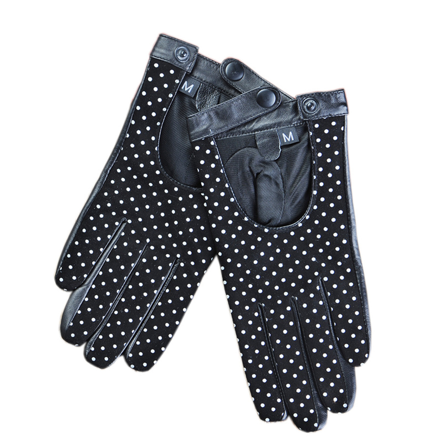 Fashion Cute Dots Style Lady Driving Leather Gloves Sheep Skin First Layer Suede Autumn And Winter LS-BC-16-5