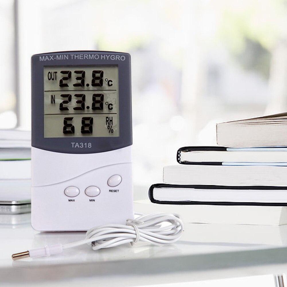 Numérique lcd thermomètre hygromètre électronique température hygromètre station météo intérieure en plein air testeur alarme horloge