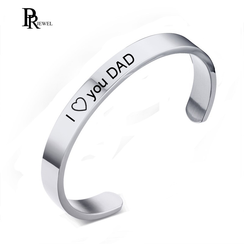 Cool Bracelet Men Recorded  I Love you DAD 8MM Silver Color Stainless Steel Cuff Bangles Bracelets for Fathers Day Love Gift
