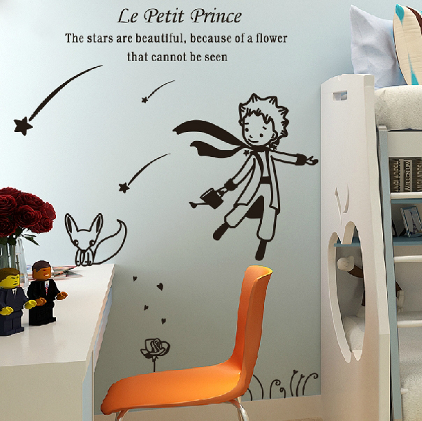 cute creative big size 98 x 122 cm for kids rooms little prince and the fox Removable wall stickers home decoration #T032