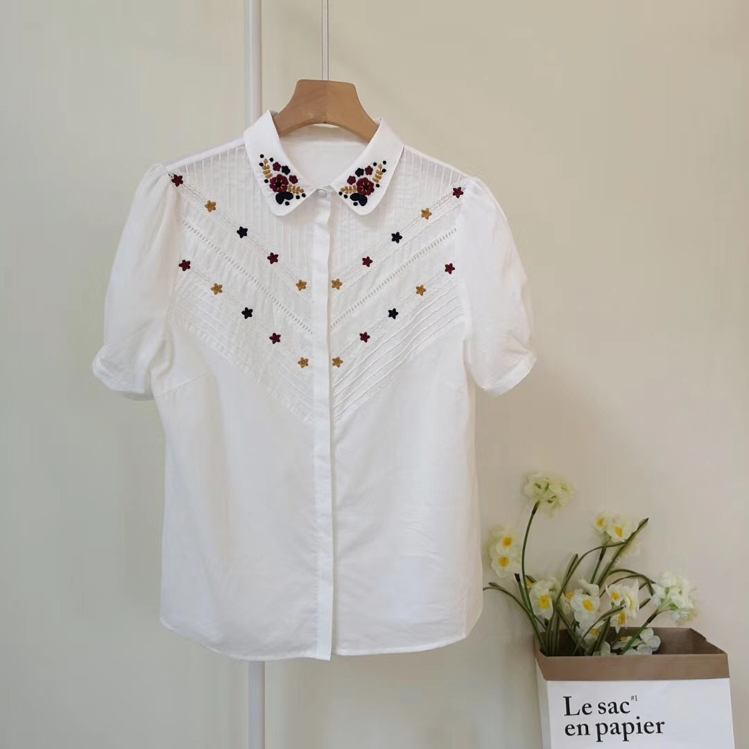 Women Shirt Embroidered Flowers Openwork Lace Trim Small Round Neck Cotton Short Sleeve Shirt