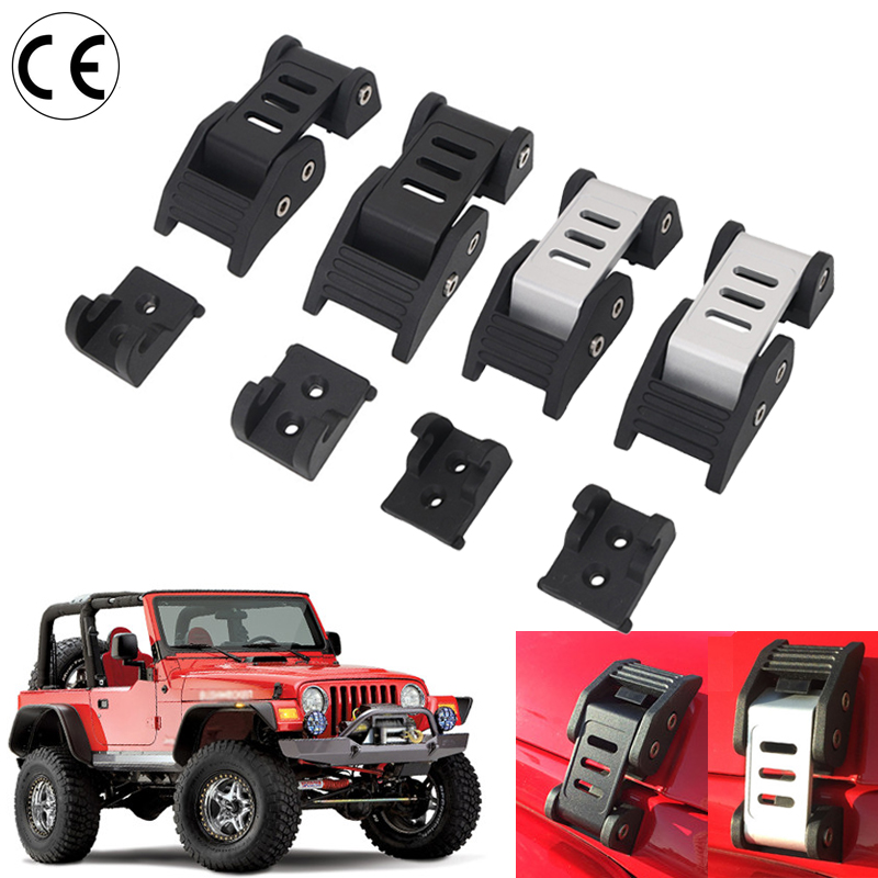 For Jeep Wrangler Hood Lock Metal Heavy Duty Aluminium Catch Locking Kit JK 2007-2017 Car lock system windshield pillar mount grab handles for jeep wrangler jk and jku unlimited solid mount grab textured steel bar front fits jeep