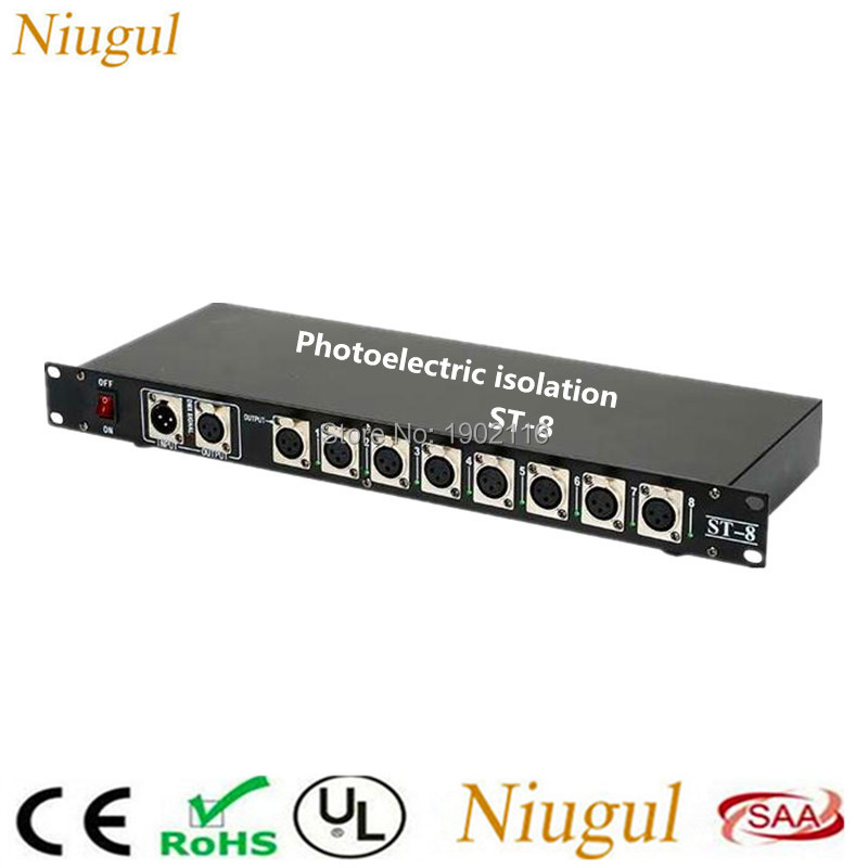 Niugul Stage Light Controller DMX512 Splitter Light Signal Amplifier Splitter 8 way DMX Distributor with Photoelectric isolation dmx512 digital display 24ch dmx address controller dc5v 24v each ch max 3a 8 groups rgb controller
