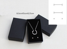 Free shipping wholesale 50pcs /lot 8.3*5*2.5cm Box For Jewelry Black Necklace Earring Packaging Boxes Pendant Paper Box