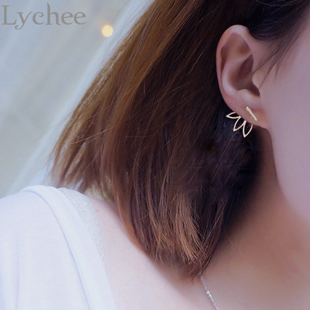 2 Pairs Lychee Cute Triple Leaf Stud Earrings Hollow Out Boho Front Back Jewelry For