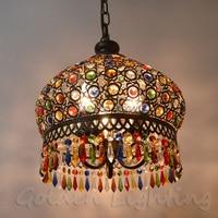 Modren Bohemia Vintage Fashion LED Colorful K9 Cystal Pendant Lamp Bronze Decoration Fixture Lights Luxury Chandeliers Light
