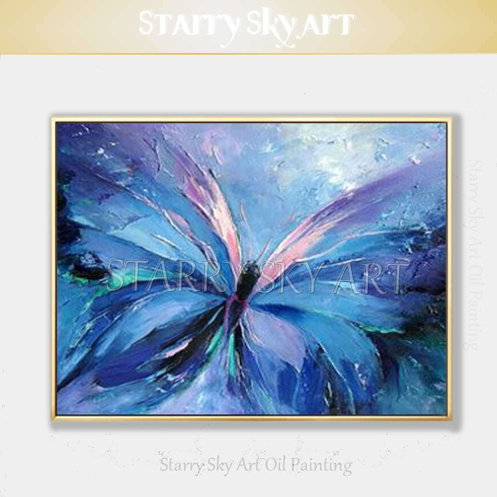 Us 23 9 50 Off Cheap Price Hand Painted Modern Abstract Art Butterfly Oil Painting Beautiful Small Insect Blue Butterfly Picture Oil Painting In