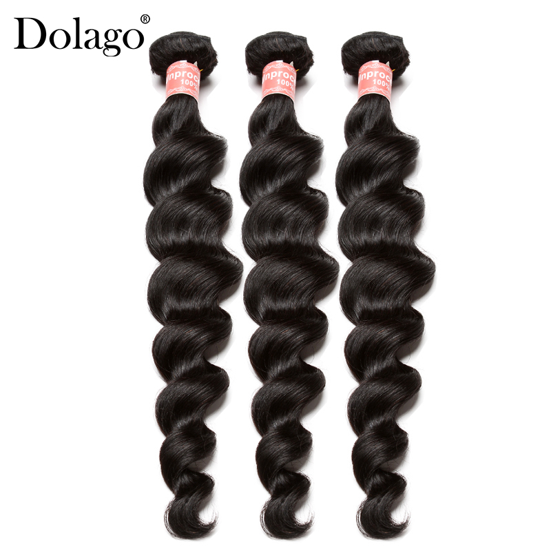Loose Wave Bundles 3 Pcs Brazilian Hair Weave Bundles 100% Human Hair Extension Natural Color Remy Dolago Hair Products