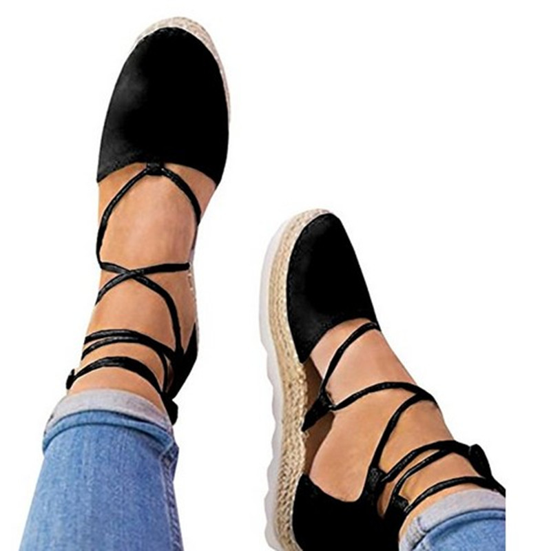summer women sandals casual flat lace up sandals platform cross strappy black big size low heel ankle pumps sexy ladies shoes strappy tie up flat sandals
