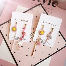 Korea Handmade Resin Flamingo Daisy Asymmetry Women Drop Earrings Dangle Fashion Jewelry Accessories-JQD5