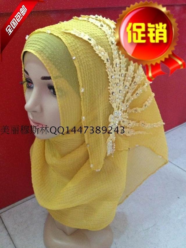 2015 new Muslim Hui high-grade Handmade Beaded simple paragraph button scarf scarf hijab2015 new Muslim Hui high-grade Handmade Beaded simple paragraph button scarf scarf hijab