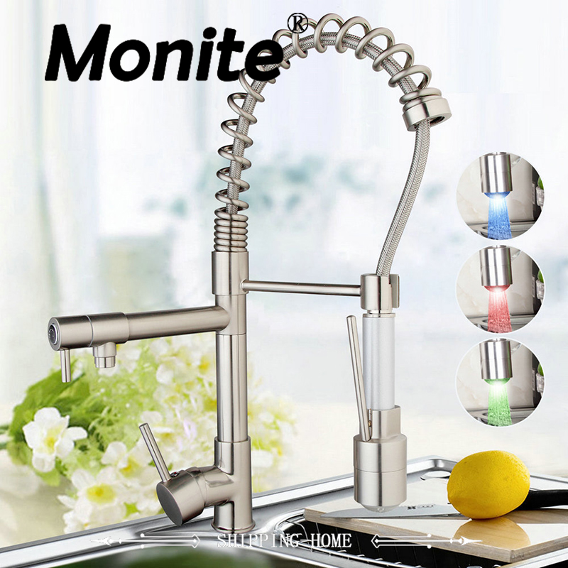 LED Kitchen Sink Swivel Spout Faucet Deck Mounted Single Handle Hole Vessel Sink Mixer Tap torneira Pull Down Spray golden brass kitchen faucet dual handles vessel sink mixer tap swivel spout w pure water tap