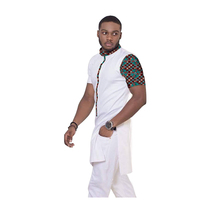 Leisure African Tops Fashion Mens Dashiki Clothes Print And White Short Sleeve Man T Shirt Stand