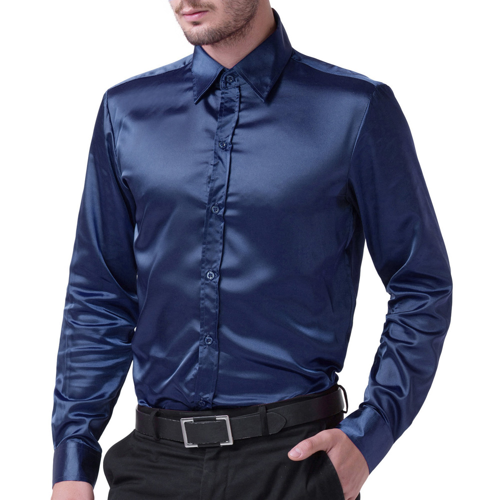 Silk-Like Satin Men Shirt Stylish & Slim Fit Solid Color Long Sleeve Business Office Shirts Casual & Formal Stretch Tops S~XL