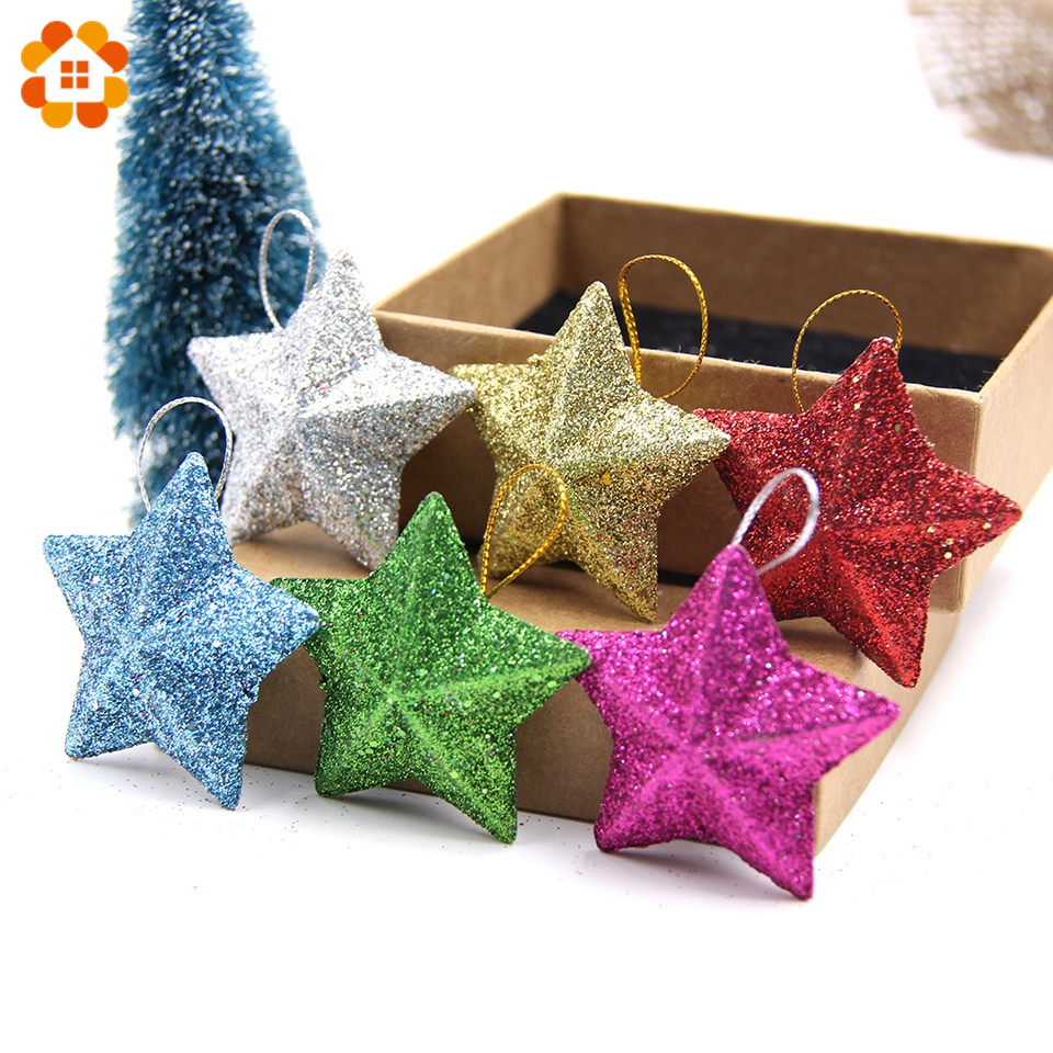 6PCS/Lot 5CM DIY Gillter Stars Christmas Pendant Ornaments DIY Craft  Kids Gift Xmas Tree Ornament Christmas Party Decorations