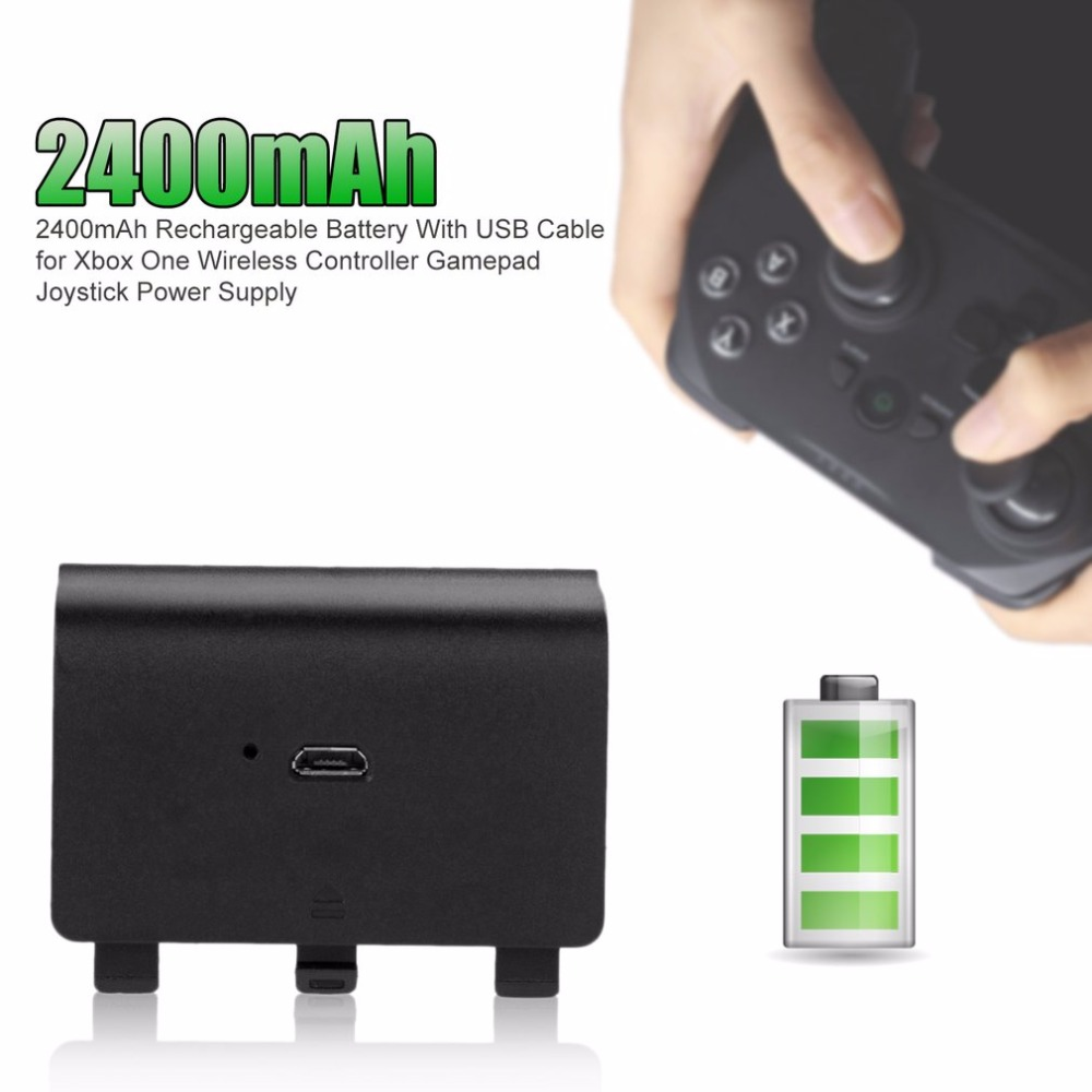 2400mAh Rechargeable Battery Power Pack With USB Cable For Xbox One Wireless Controller Gamepad Joystick Power Supply