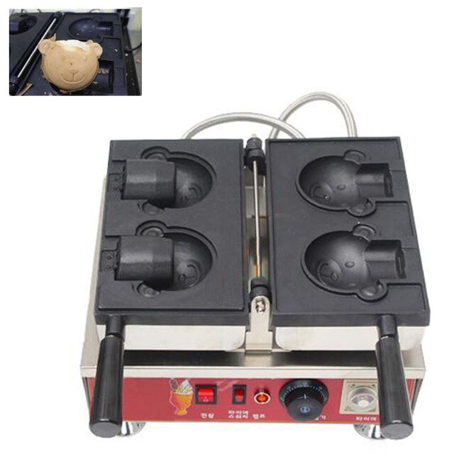 Free shipping 220V 110V Commercial Use Non-stick Electric 2pcs Ice Cream Taiyaki machine Bear waffle maker