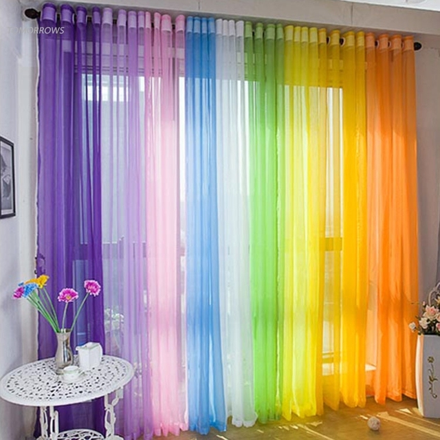 Delicieux Hot Sale Sheer Voile Curtains Drapes Window Voile Drape Panel Curtain Home Door  Curtains 8 Colors