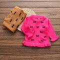 Novo outono inverno roupas de bebê de tricô infantil meninas do bebê roupas crianças camisola arcos Babados meninas outfirts traje aniversário