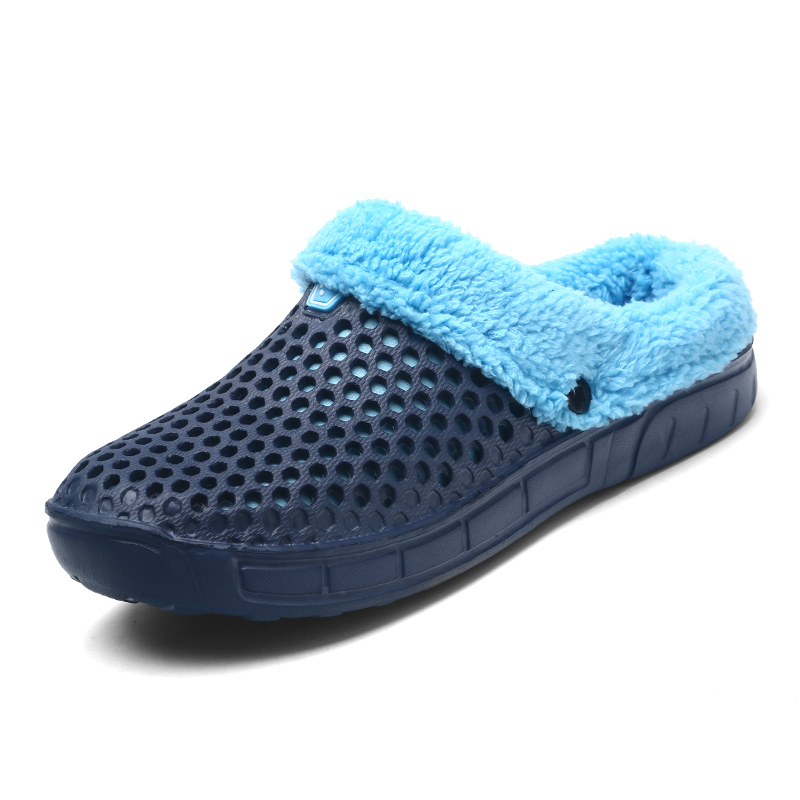 New Winter Croc Shoes Outdoor Sandals Soft Plush Cotton Slides flats Non Slip Clogs Shoes Unisex