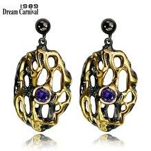 DC1989 Free shipping 2016 Trendy design Oval 18K Gold black Plated Cubic Zirconia Brass Lead free Drop earrings for women (E17)