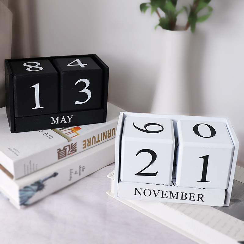 3D Cube Shape Calendar DIY Art Crafts Pine Wood Modern Style Home Decoration Accessories For Office School Desk Gifts For Baby