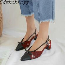 Женские сандалии на высоком каблуке синие туфли с узором в европейском