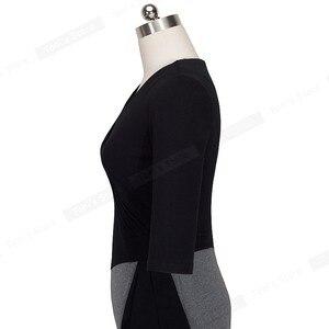 Image 4 - لطيفة إلى الأبد ناضجة أنيقة الخامس الرقبة vestidos تذبذب فستان العمل مكتب Bodycon 3/4 كم غمد المرأة فستان الأعمال B333