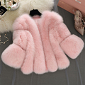 2017 New Winter Pink Fur Coat Woman Fashion Furry Faux Fox Fur Coats Artificial Fur Short Jacket Faux Fur Gilet Black PC237